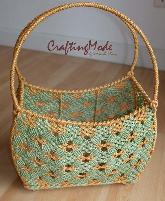 Bag basketMedium Macrame Curved rectangular by CraftingMode, $73.00