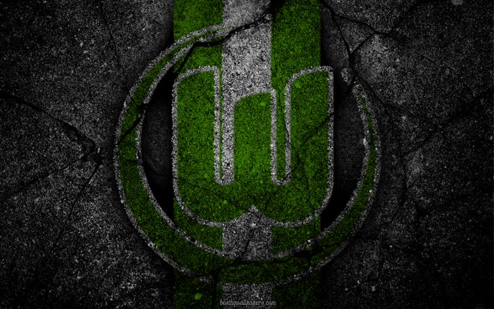 Download wallpapers Wolfsburg, logo, art, Bundesliga, soccer, football club, VfL Wolfsburg, asphalt texture