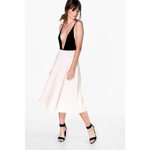 Boohoo Night Arianna Plain Full Circle Midi Skirt (£15) ❤ liked on Polyvore featuring skirts, nude, pleated circle skirt, white body con skirt, calf length skirts, white skirt and midi circle skirt
