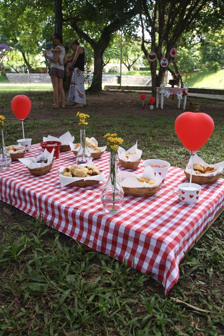 picnic birthday party with a pallet as table