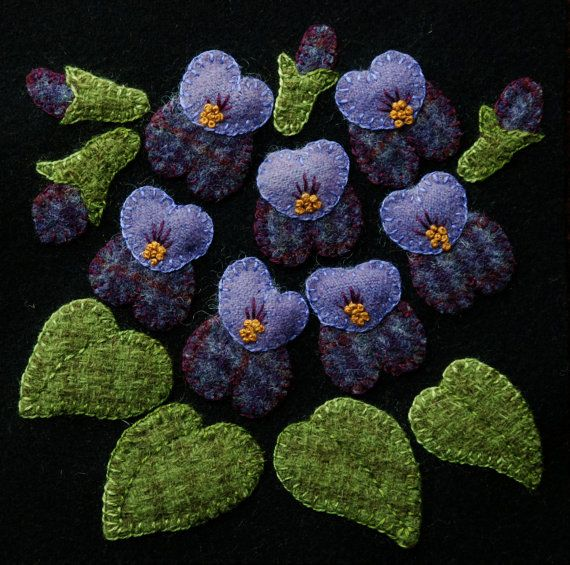 "Wool applique BOM PATTERN &/or KIT ""Violets"" 6x6 block 1 of 24 ""Four Seasons of Flowers"" folk art quilt wall hanging bed runner felted wool"