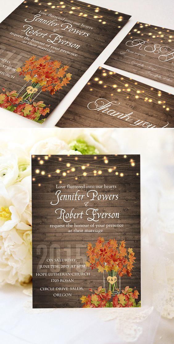 cheap rustic wooden string light mason jar fall wedding invitation