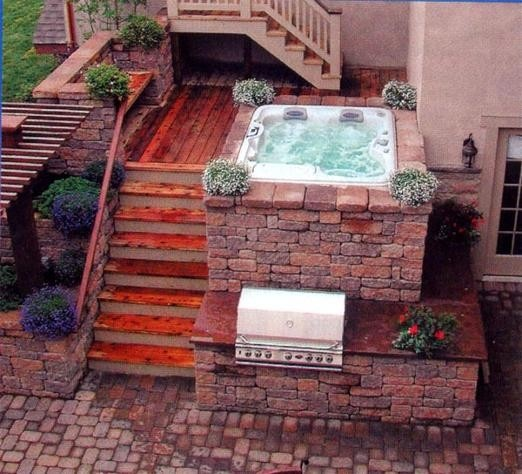 hot tub and grill stacked