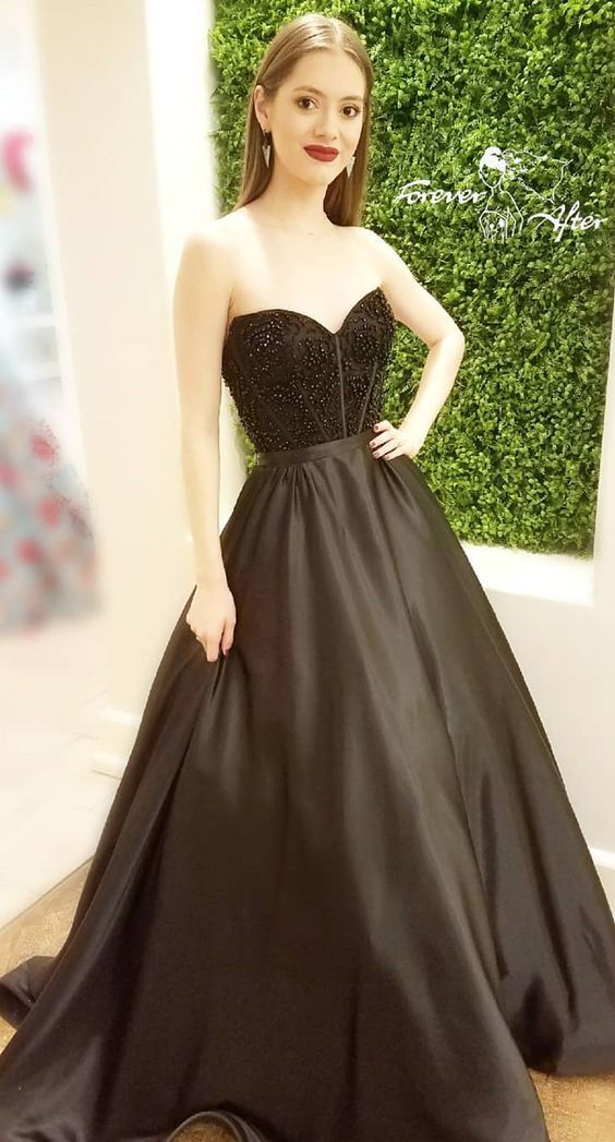 b215381a1cb Black Satin Ball Gown Formal Evening Dresses