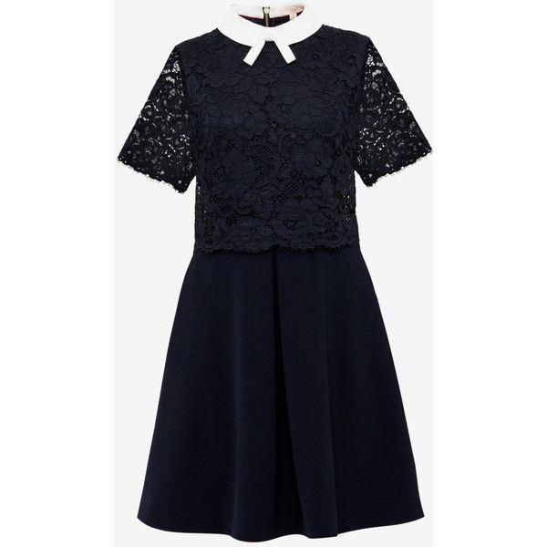 Layered lace dress (2,420 MXN) ❤ liked on Polyvore featuring dresses, layered dress, lace-sleeve dresses, sleeved dresses, bow dress and contrast collar dress
