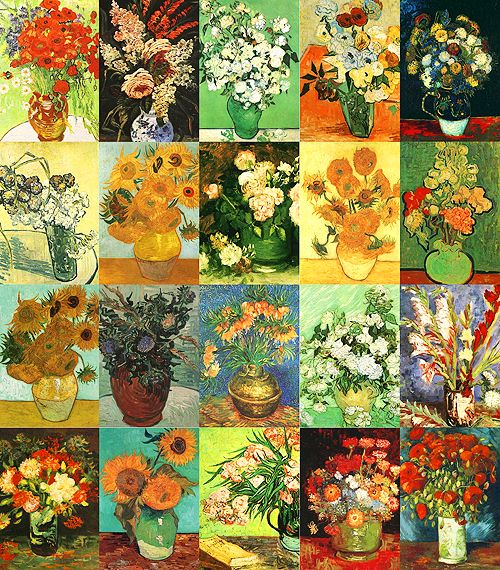 the-absolute-best-posts:  Vincent van Gogh's paintings of flowers  Great reference image for students.