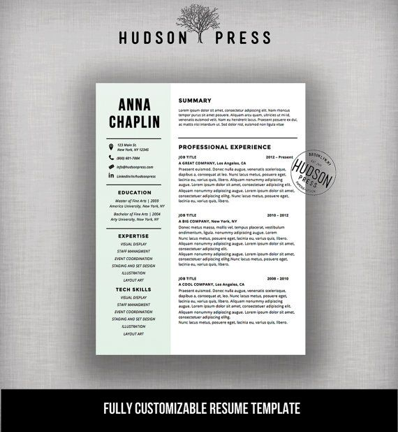 Resume Template | CV Template | Modern Resume Design + Cover Letter | Mac  Or PC  Cool Resume Designs
