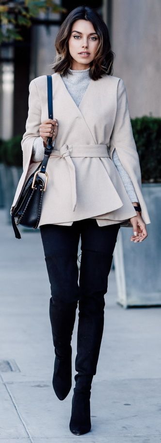 COSETTE CLOTHING Phoebe wool coat   TOMMY HILFIGER COLLECTION sweater   STUART WEITZMAN The ALLLEGS over-the-knee boots   CHLOE Hudson bag