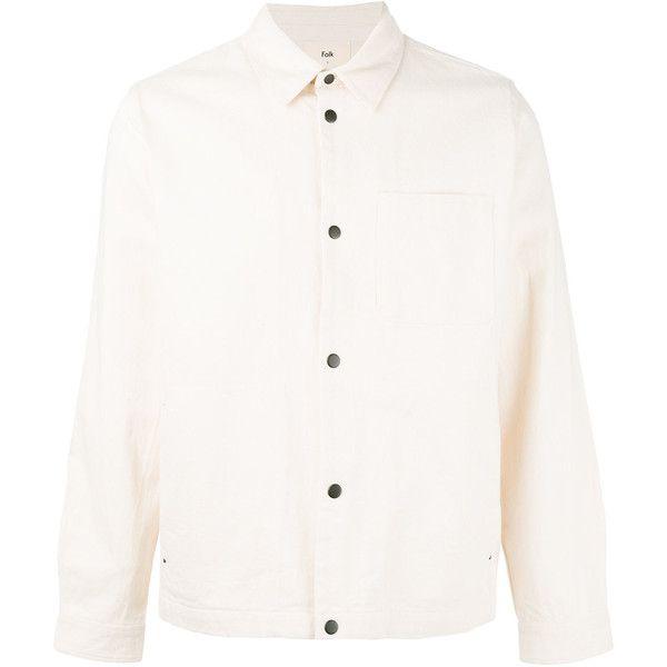Folk denim jacket (€200) ❤ liked on Polyvore featuring men's fashion, men's clothing, men's outerwear, men's jackets, white, mens white denim jacket, mens white jacket and mens white jean jacket
