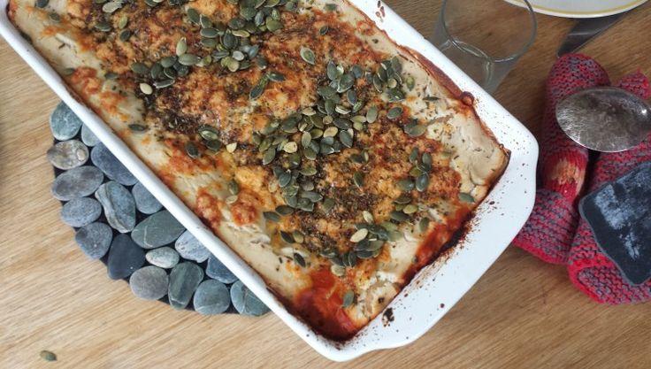 Vegan lasagna with cauliflower sauce #vegan #HCLF