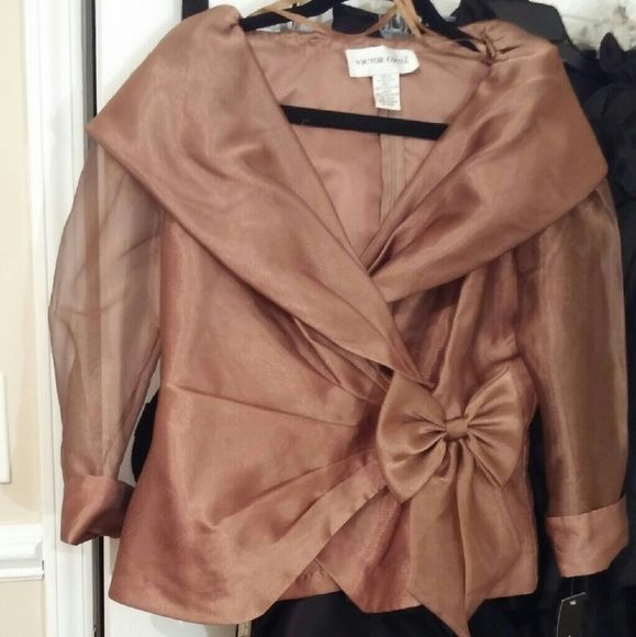 Gorgeous sheer formal top Sheer bronze top w/zippered back portrait collar.  Looks great w/long black skirt or trumpet skirt. Victor Costa Tops Blouses