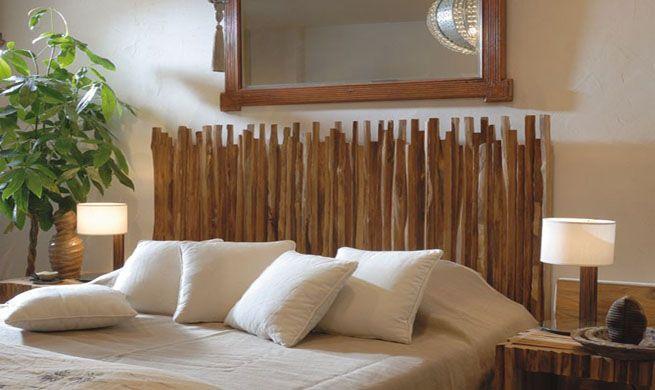 Cabecera creativa con palos de madera