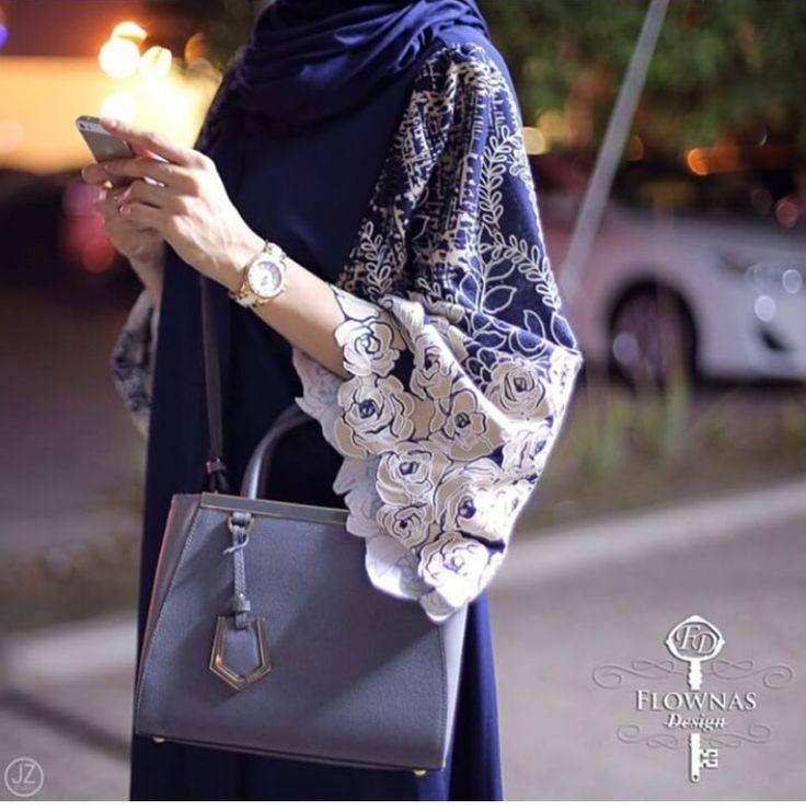 Pinterest: @eighthhorcruxx. Blue and white abaya with handbag
