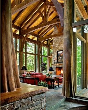i need a space like this.Spaces, Trees Trunks, Dreams, Beams, Living Room, Trees House, Windows, Families Room, Logs Cabin