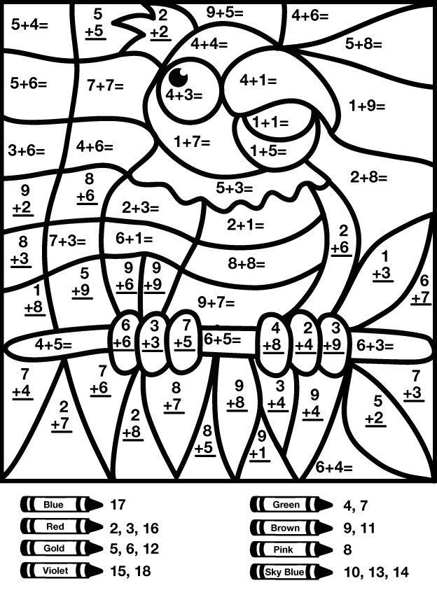 Bird Addition Color By Number Worksheet Math Coloring Worksheets Math Pictures Math Coloring
