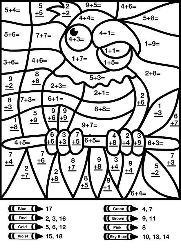 Bird addition color by number worksheet