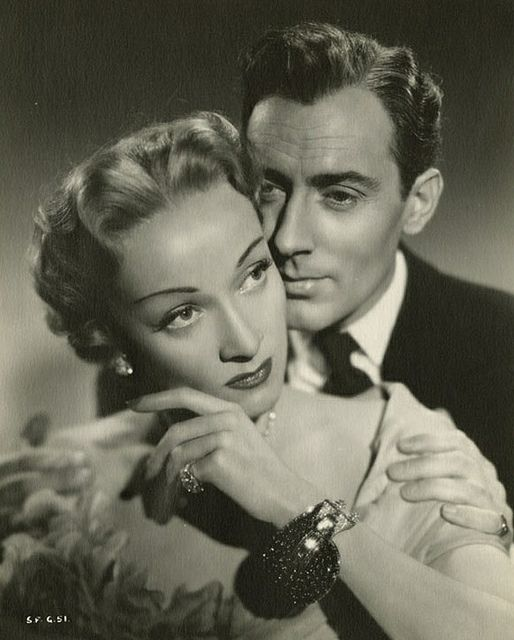 Marlene Dietrich and Michael Wilding in Alfred Hitchcock's Stage Fright
