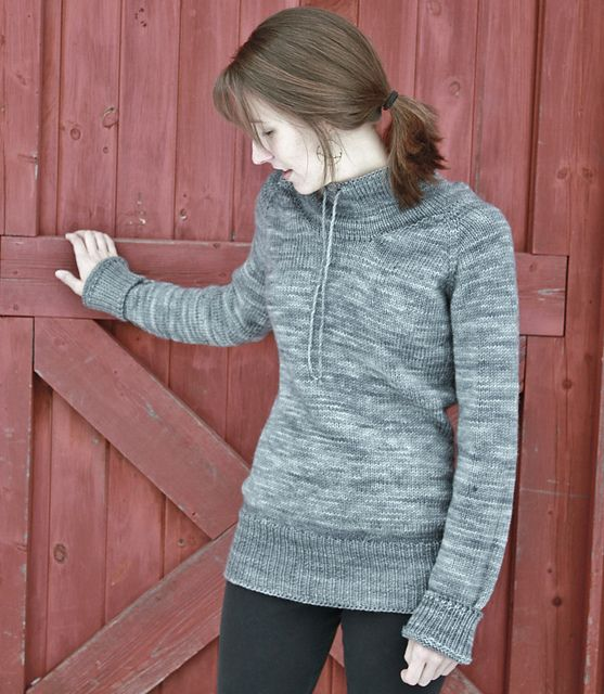 sweatshirt sweater.  tailored with drawstring neck.   ease.  by alicia plummer.  ravelry.