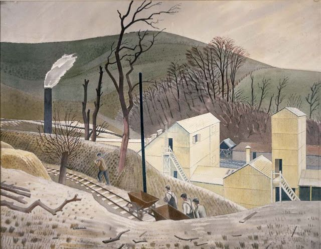"""Cement Works No.2"" by Eric Ravilious, 1934. Whilst staying at Furlongs on the South Downs, Peggy Angus and Eric Ravilious made the nearby Asham Cement Works their unlikely subject, he painting in watercolour and her in oil."