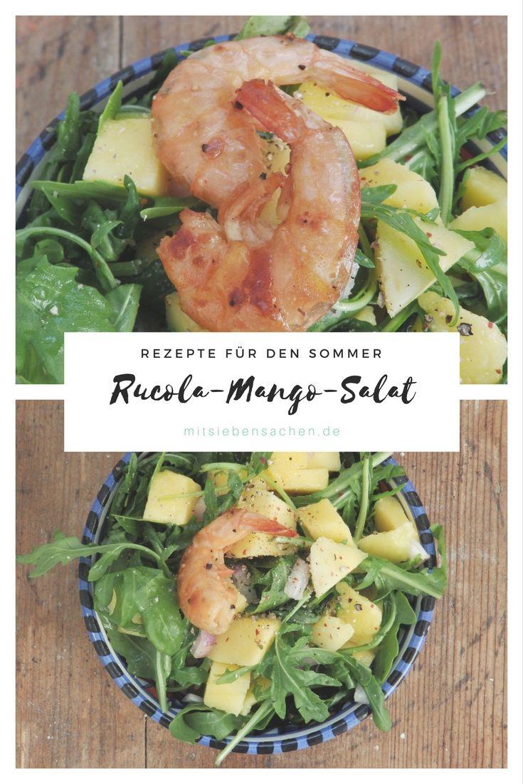 Mango-Rucola-Salat mit leckeren Zitronen-Garnelen als Hauptgericht, leichtes Abendessen oder als Beilage zum Grillen.