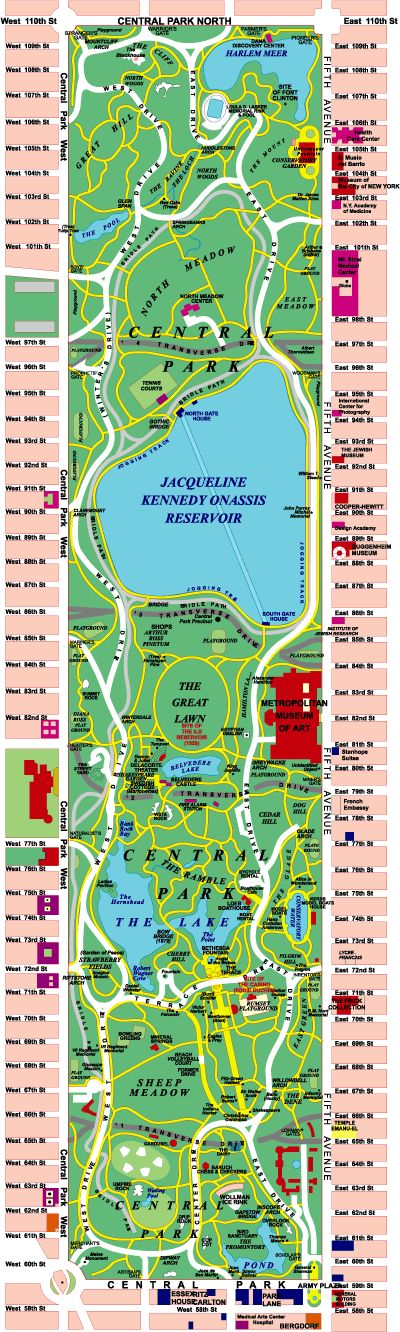 central park map Zoo, restaurants, bikes, alice in wonderland statue. 58 miles of pedestrian walks, 6.5 miles of roads and 4.5 miles of bridle paths were constructed. The Metropolitan Museum of Art was built on the edge of the park on 5th Ave. between 80th and 84th streets.