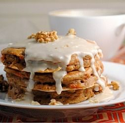 Scratch Carrot Cake Pancakes with Cream Cheese Glaze  Sounds delicious and unique.  Healthy ingredients too.