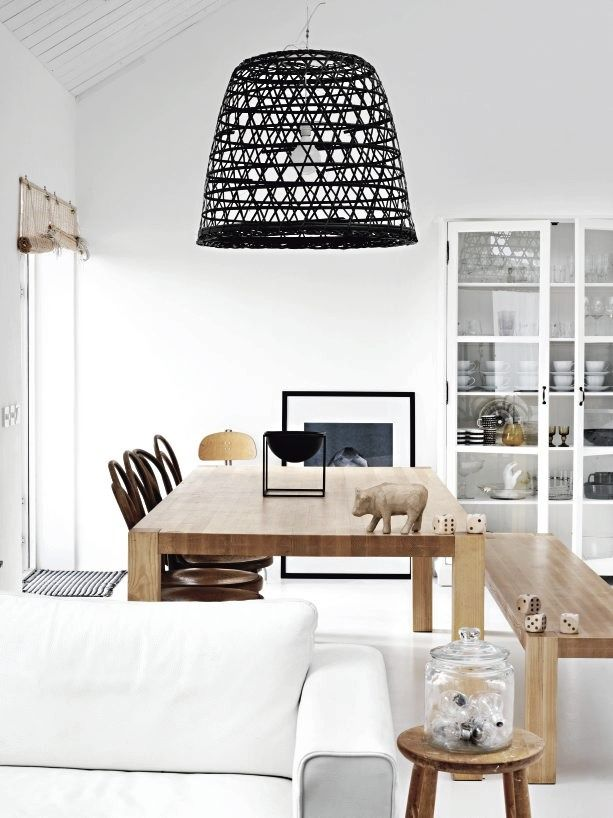 White and timber with black accents. A great combination.