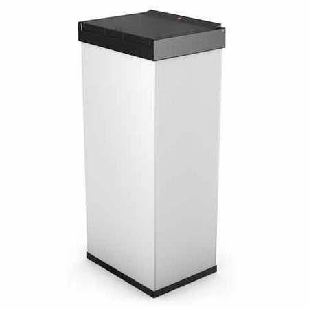 Poubelle de cuisine carrée manuelle 60L en inox  Big-Box Touch Blanc