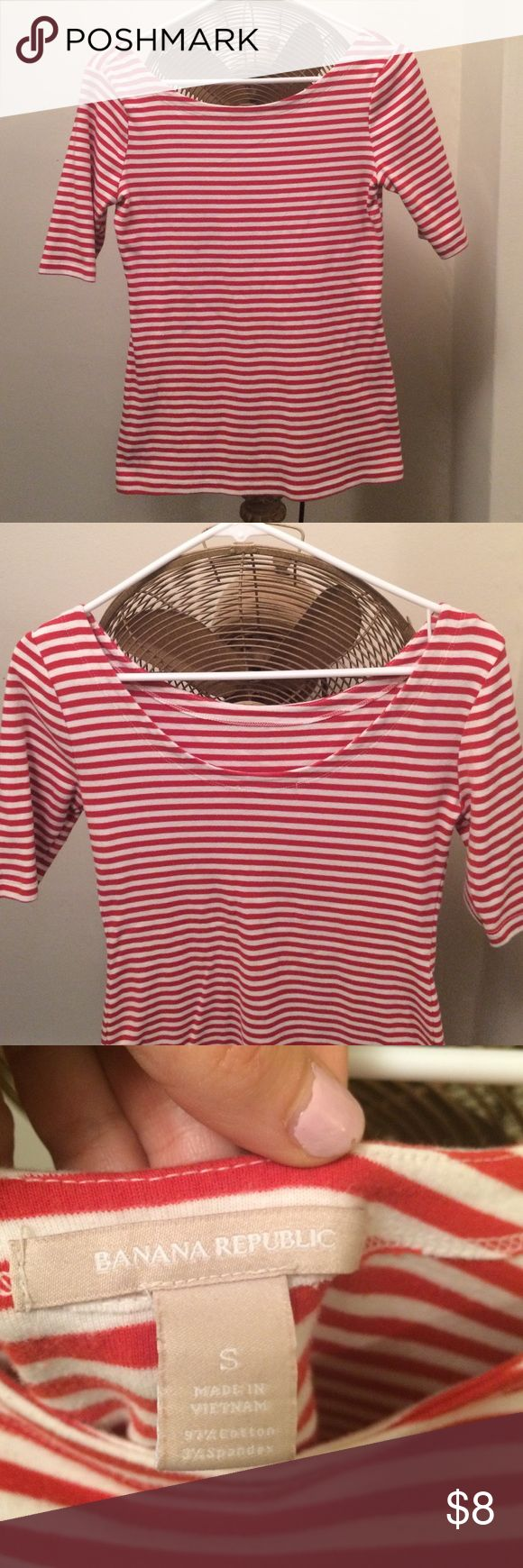 Banana Republic red & white striped shirt small Banana Republic red and white striped fitted tshirt, size small. Scoop neck and scoop back (a little lower than the front). Banana Republic Tops Blouses