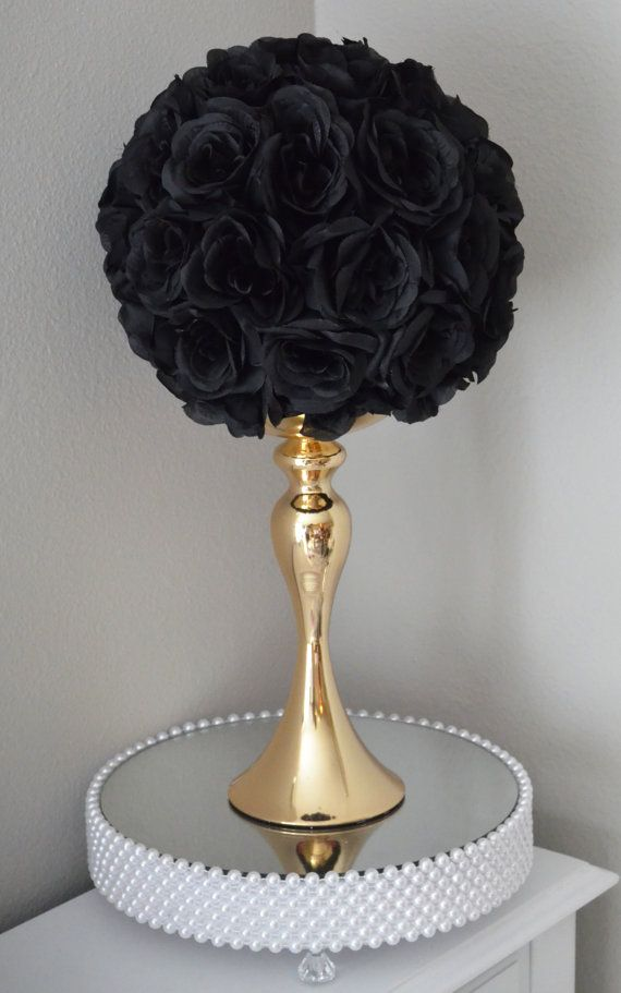 "Black Kissing Ball. WEDDING CENTERPIECE, Wedding Pomander. Flower Ball. Flower Girl Bouquet 7"", 8"", 10"", 12"", 14"", 16"", 18"""