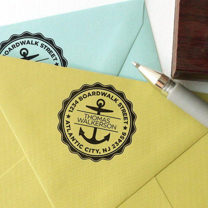 Round Address stamp with anchor design