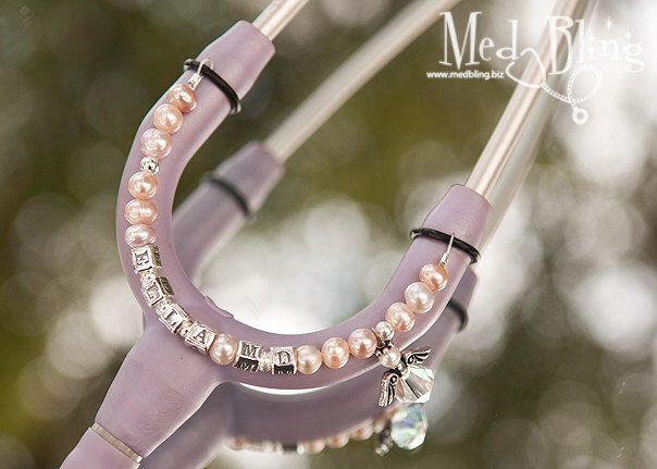 Personalized Stethoscope ID Jewelry with Charm - Great for Nurses, Physicians, Respiratory Therapists by MedBling on Etsy https://www.etsy.com/listing/100156237/personalized-stethoscope-id-jewelry-with