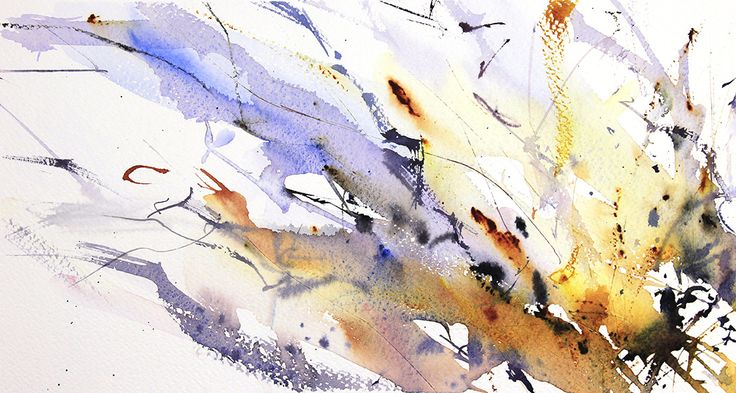 Winter Trees number 9 abstract watercolour by Adrian Homersham