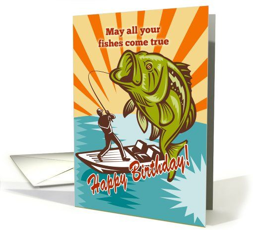 Birthday Day card featuring Fly Fisherman catching... (795489)