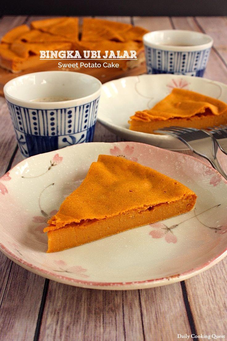 Bingka Ubi Jalar - Sweet Potato Cake with coconut milk, vanilla, etc #Indonesian dessert