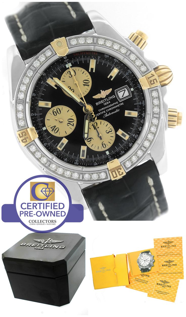 Breitling Chronomat Evolution Diamond Two-Tone B13356 44mm Black Strap Watch