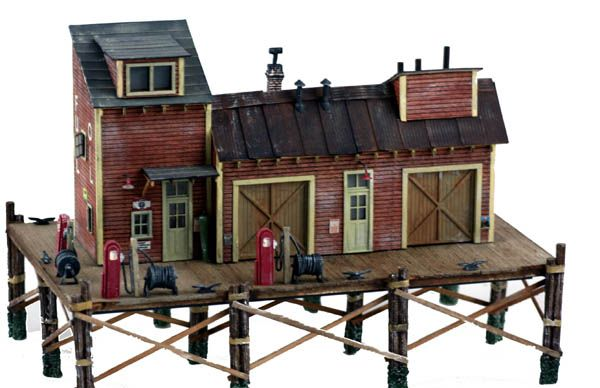 model railroad waterfront | HO Scale Kit Waterfront Series - Dockside FUEL & OIL Boat SUPPLY Co.