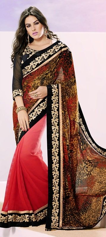 139504, Party Wear Sarees, Embroidered Sarees, Chiffon, Satin, Resham, Stone, Patch, Border, Printed, Pink and Majenta Color Family #saree #AnimalPrint #Prints #Trends2014 #partywear #chic #boho #Diwali #sale #Onlineshopping