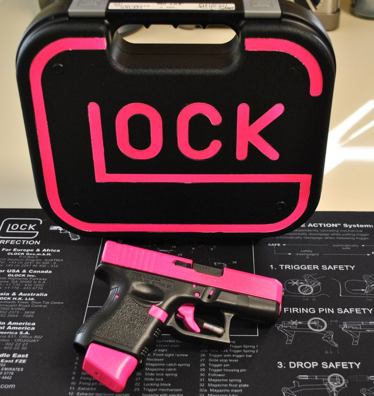 """Glock 27 """"Hot Pink"""" with custom matching case. Who says a gun cant be pink!"""