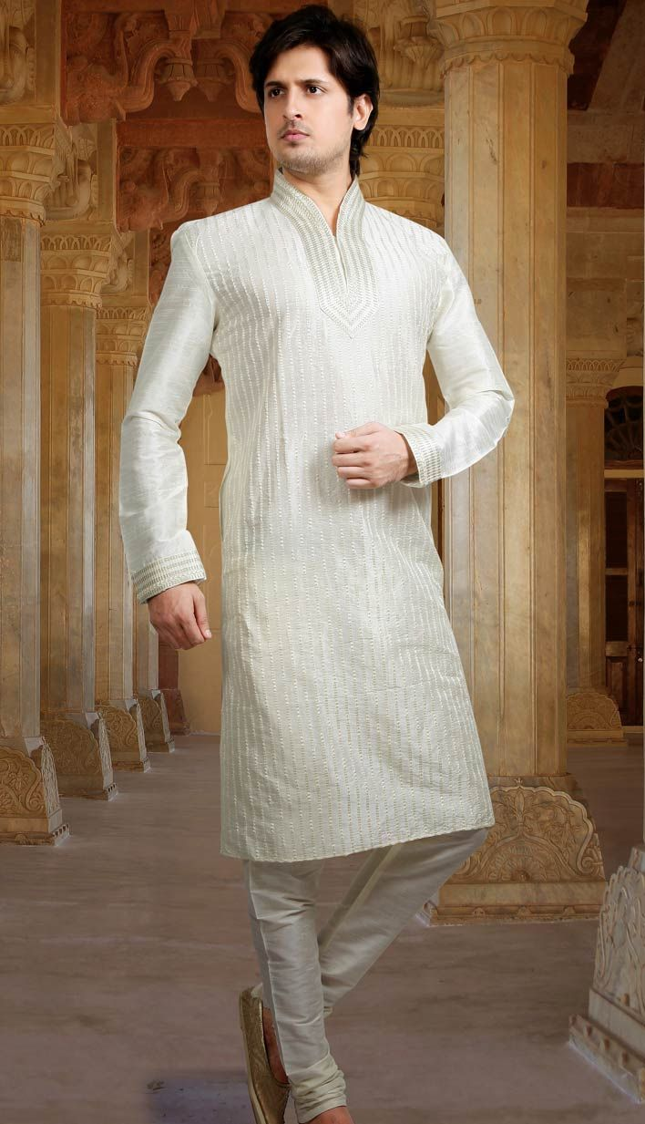 Beautiful Indian White Poly Jacquard Kurta
