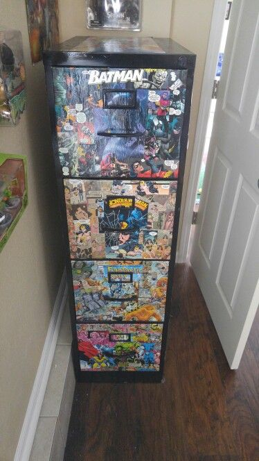 $15 Craigslist file cabinet and $1 comic books