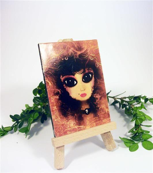 Big Eyed Girl ACEO Original Art Mini Canvas Board Gift Idea Miranda $5.00