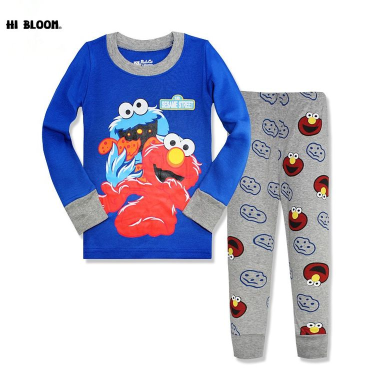 Easter Gifts Cotton Spring Sesame Street Clothing Set Cartoon Elmo Cookies Monster Sleepwear Pajamas Sport Suit Tracksuits