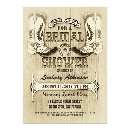 Rustic cowboy shoes fun western unique custom bridal shower invitations