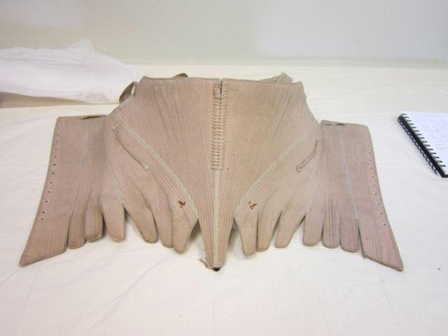Scandalous Liberty, pale pink linen stays