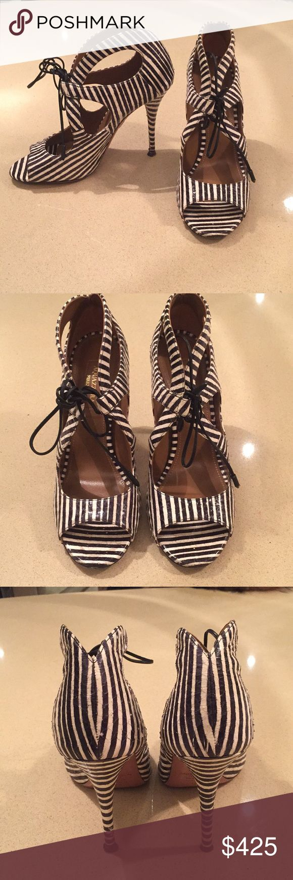 Aquazzura black and white sandal 37.5 Great condition unique  Aquazzura black and white stripe sandals with leather ankle tie. Has a subtle crackled leather look. Some scuff on bottom soles. Aquazzura Shoes Sandals