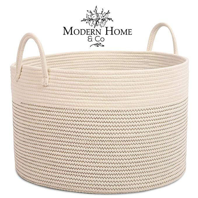 Amazon Com Modern Home Co Xxl Cotton Rope Basket 20x13 3 Woven