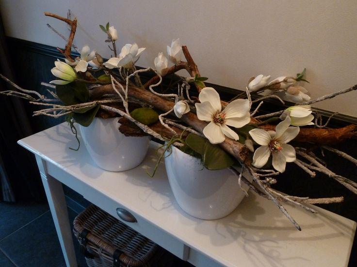 decoratie met takken/kunstbloemen