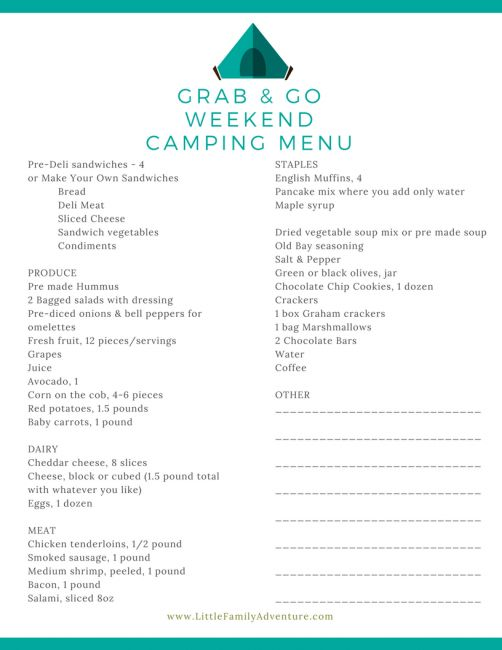 Grab And Go Weekend Camping Menu Food ListsCamping
