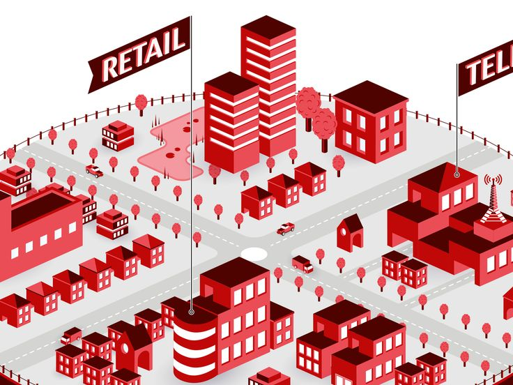 Townscape | Isometric Cityscape | Red | Buildings | Fujitsu Secure Thinking